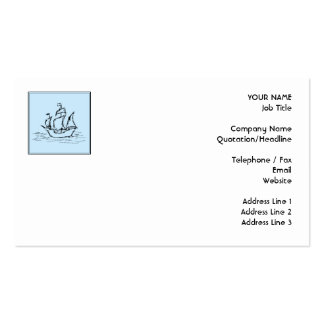 Pirate Ship. On pale blue. Business Card