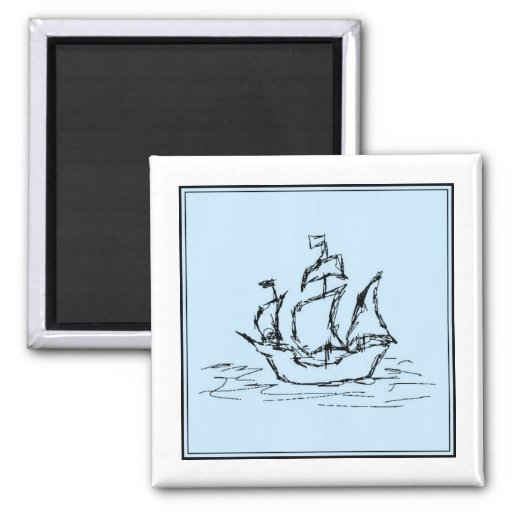 Pirate Ship. On pale blue. Magnets
