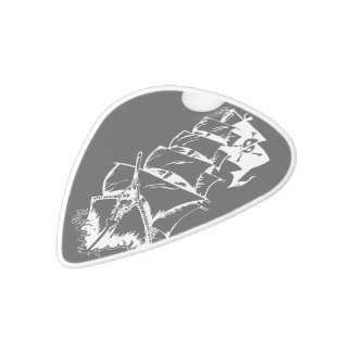 Pirate Ship on the High Seas White Delrin Guitar Pick