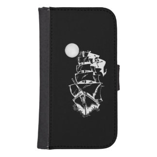 Pirate Ship on the High Seas Wallet Phone Case For Samsung Galaxy S4