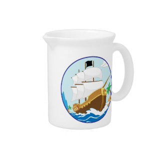 Pirate Ship on the Shore Drink Pitcher