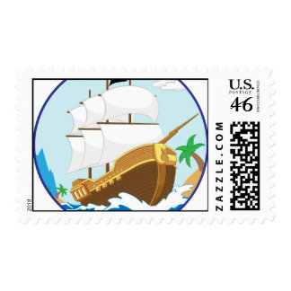Pirate Ship on the Shore Stamp