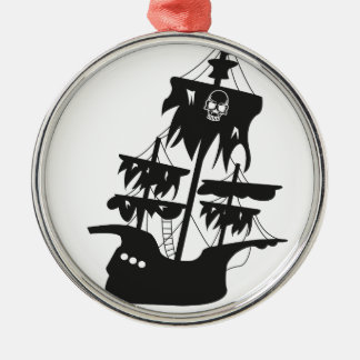 Pirate ship round metal christmas ornament