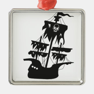 Pirate ship square metal christmas ornament