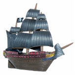 """Pirate Ship Ornament<br><div class=""""desc"""">Photo sculpture ornament of a pirate ship flying its Jolly Roger. See the entire Shipwreck Ornament collection in the SPECIAL TOUCHES 