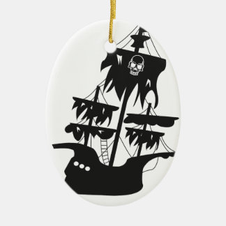 Pirate ship Double-Sided oval ceramic christmas ornament