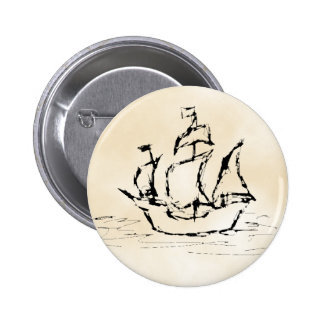 Pirate Ship. Parchment Pattern Background. Pinback Button