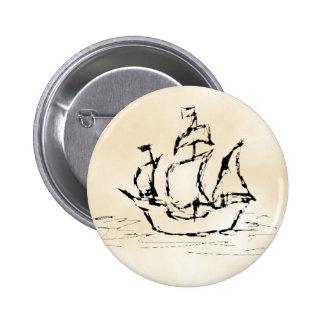 Pirate Ship Parchment Pattern Background Pinback Button