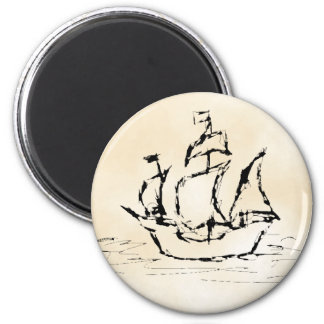 Pirate Ship. Parchment Pattern Background. Refrigerator Magnets