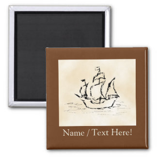 Pirate Ship. Parchment Pattern Background. Refrigerator Magnet