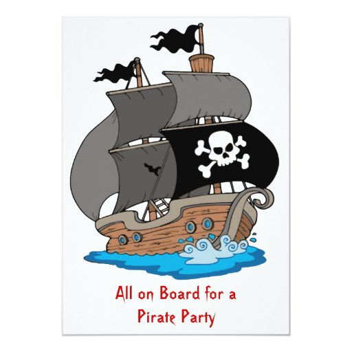 Pirate Ship Party Card