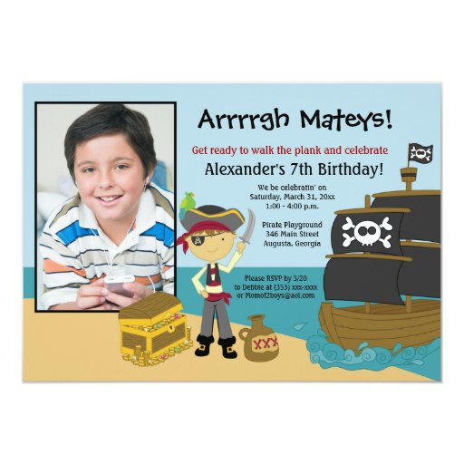 Pirate Ship Photo Boy's Birthday Invitation 5x7