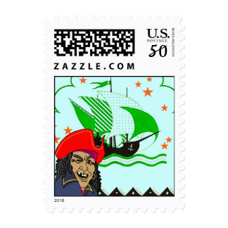 Pirate Ship & Pirate postage stamp Stamps