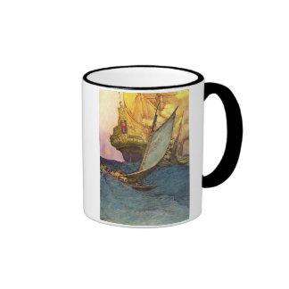 Pirate Ship Ringer Coffee Mug