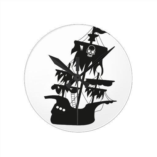 Pirate ship round wall clocks