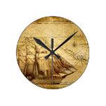pirate ship round wallclock