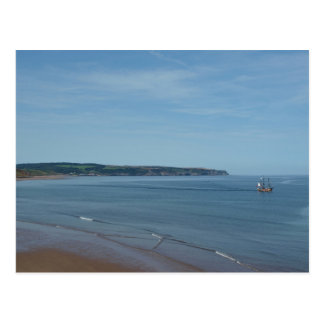 Pirate Ship Sailing Across Whitby Bay, Yorkshire Postcard