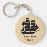 Pirate Ship. Sailing Ship. Basic Round Button Keychain