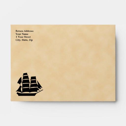 Pirate Ship. Sailing Ship. Envelope