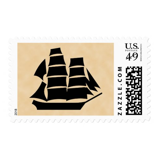Pirate Ship. Sailing Ship. Stamps