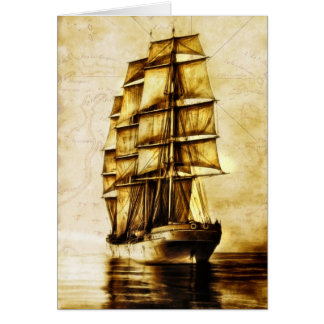 Pirate Ship Sailing with Old World Map Blank Card