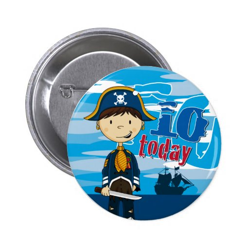 Pirate Ship Scene 10th Birthday Button Badge