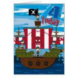 Pirate Ship Scene 4th Birthday Card