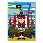 Pirate Ship Scene 7th Birthday Card