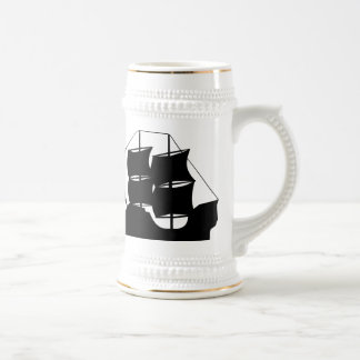 Pirate Ship Silhouette 18 Oz Beer Stein
