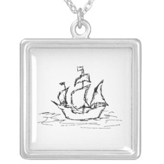 Pirate Ship. Silver Plated Necklace