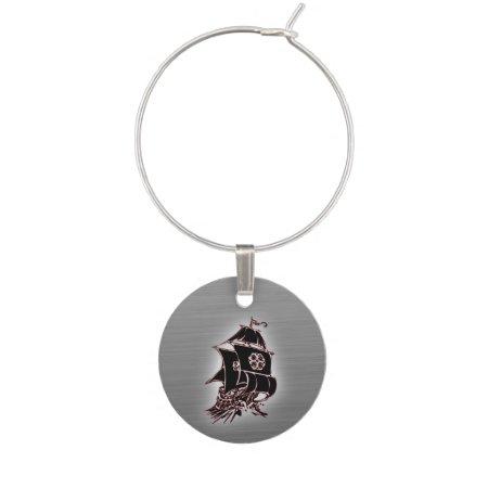 Pirate Ship Silver Wine Tag Wine Glass Charm