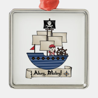 Pirate Ship | Skeleton Skull Pirate | Ahoy Matey! Square Metal Christmas Ornament