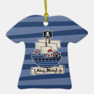 Pirate Ship | Skeleton Skull Pirate | Ahoy Matey! Double-Sided T-Shirt Ceramic Christmas Ornament