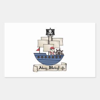 Pirate Ship   Skeleton Skull Pirate   Ahoy Matey! Rectangular Sticker