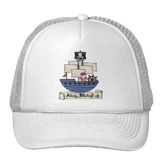 Pirate Ship | Skeleton Skull Pirate | Ahoy Matey! Trucker Hat