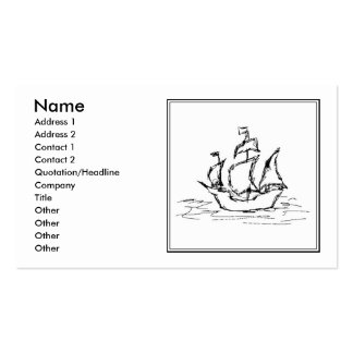 Pirate Ship Sketch. Black and White Galleon. Business Card