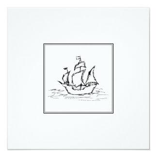 Pirate Ship Sketch. Black and White Galleon. 5.25x5.25 Square Paper Invitation Card