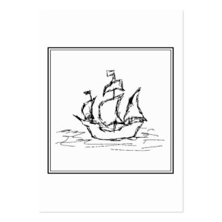 Pirate Ship Sketch. Black and White Galleon. Large Business Card