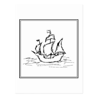 Pirate Ship Sketch. Black and White Galleon. Postcard