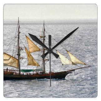 Pirate Ship Square Wall Clock