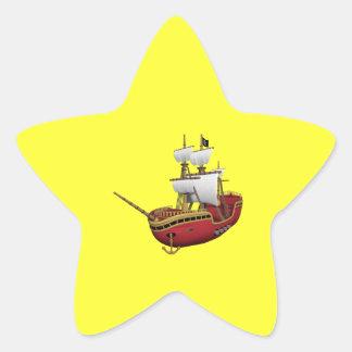 Pirate Ship Star Sticker