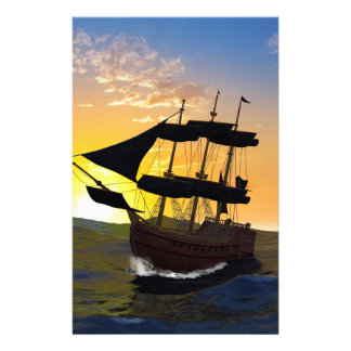 Pirate ship personalized stationery