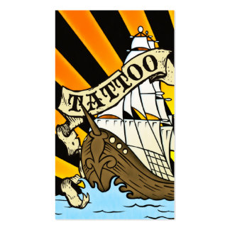 pirate ship tattoo business card templates
