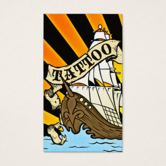 pirate ship tattoo business card