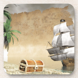 Pirate ship that discovers a treasure beverage coaster