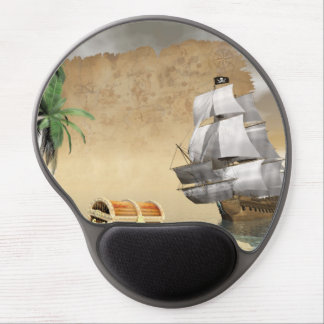 Pirate ship that discovers a treasure gel mouse pad