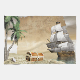 Pirate ship that discovers a treasure hand towel