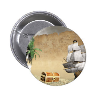 Pirate ship that discovers a treasure pinback button
