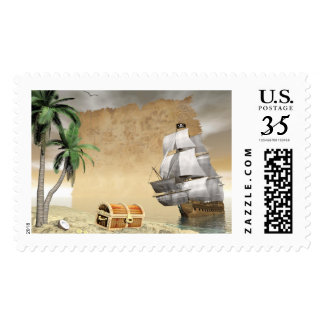 Pirate ship that discovers a treasure postage