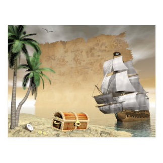 Pirate ship that discovers a treasure postcard